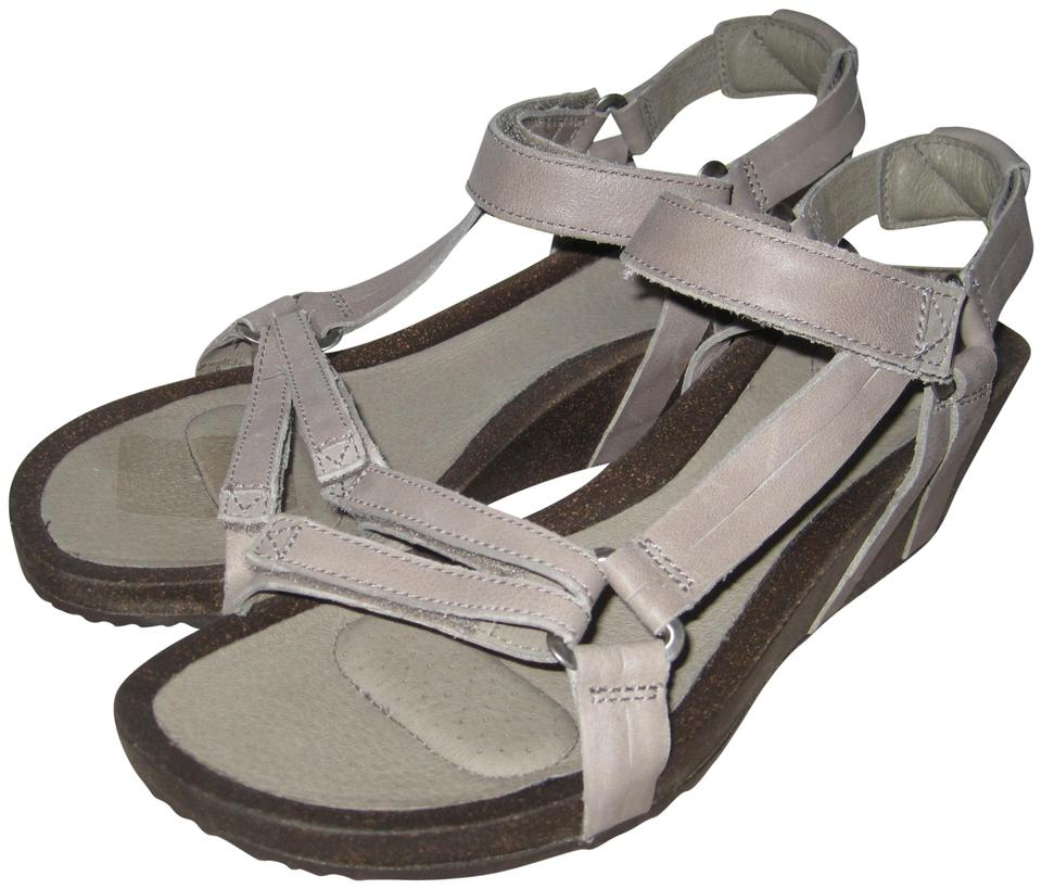 487d0168f2f Teva Taupe Ysidro Universal Leather Upper Cork Wedge Sandals Size US ...