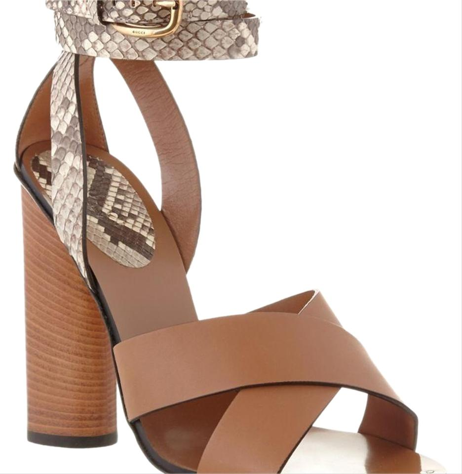 4e286572022 Gucci Brown Leather Snakeskin Ankle Wrap Strappy Sandals Size EU 40 ...