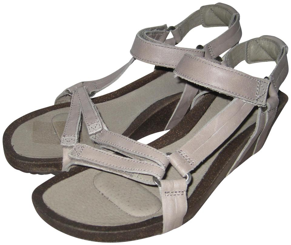 b8bbaa72cd20 Teva Taupe Ysidro Universal Leather Upper Cork Wedge Sandals Size US ...