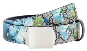 Gucci Blue Bloom Print Belt w/Silver Buckle 100/40 424674 8499