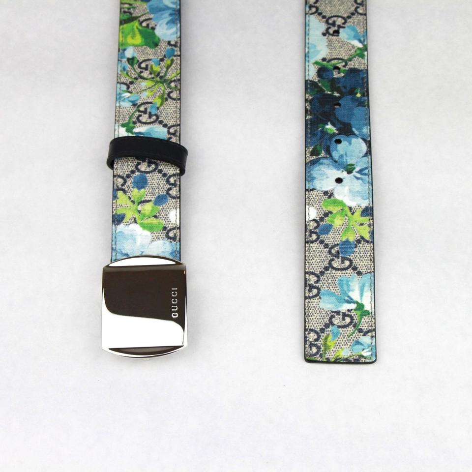 2506b19354a Gucci Blue Bloom Print Belt w Silver Buckle 100 40 424674 8499 Image 5.  123456