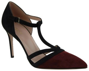 Gucci And Suede Leather T Strap Heel Black/Burgundy Pumps