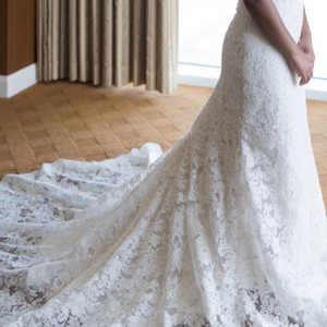 Allure Bridals White Lace Couture Formal Wedding Dress Size 2 (XS)