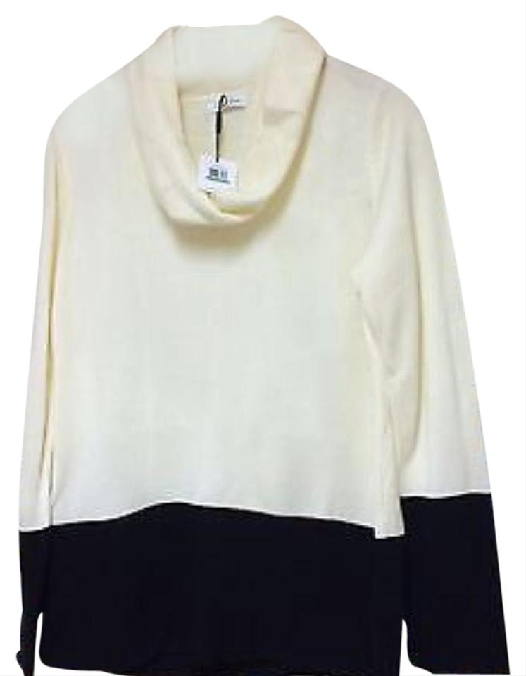 effbadc33e88 Calvin Klein Cowl Neck Color Ivory/Black Sweater - Tradesy