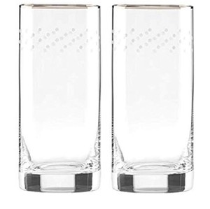 Kate Spade Clear/ Gold Dots New York Sadie Street Crystal Highball Glasses Casual China