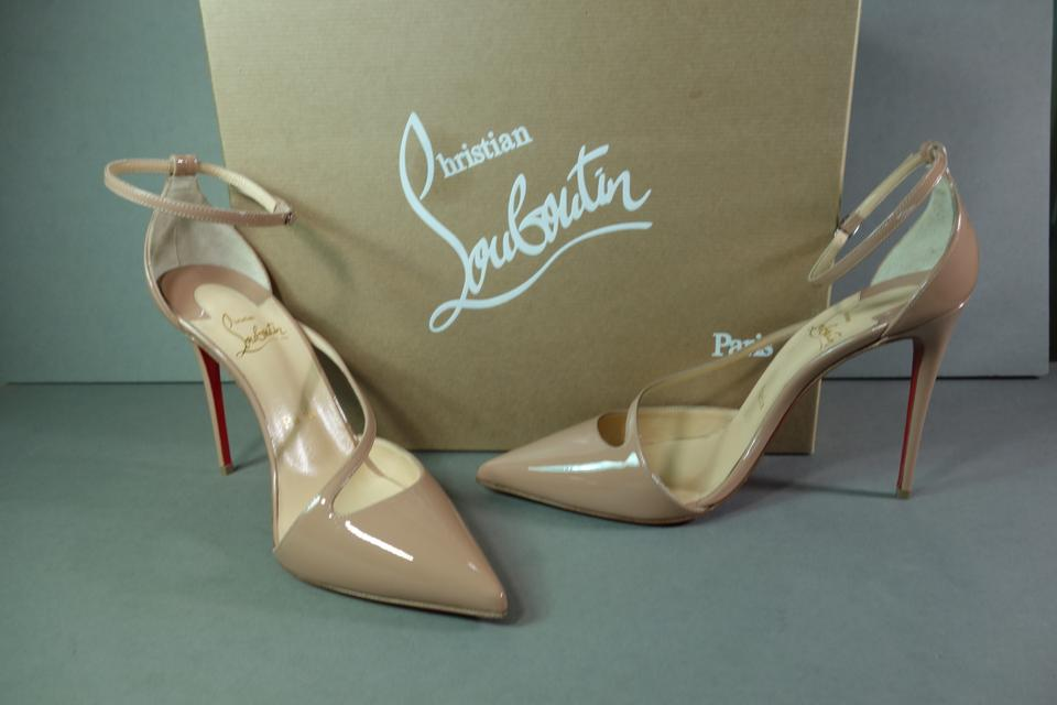 san francisco d2cb8 e976b Christian Louboutin Beige Nude Crossfliketa 100 Point Toe Classic Ankle  Strap Patent Leather Pumps Size EU 37 (Approx. US 7) Regular (M, B)