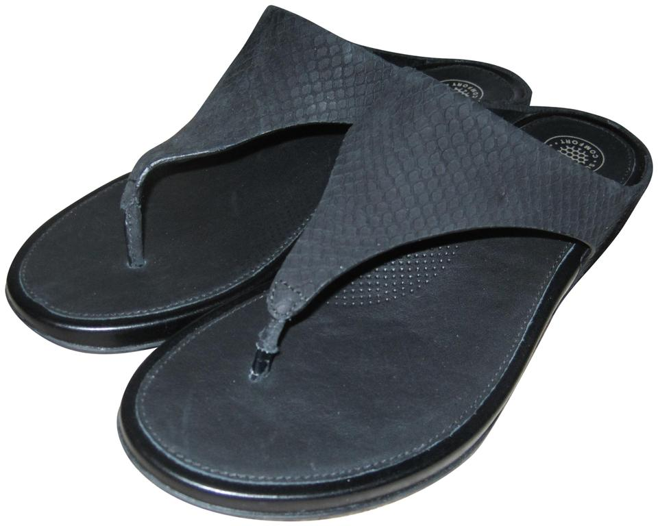 8746de8cf0a8 FitFlop Black Banda Suede Cushioned Wedge Thong Slides Sandals Size ...
