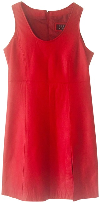 Item - Red Leather Slim Fit Short Cocktail Dress Size 4 (S)