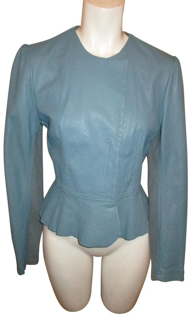Item - Blue Fitted Ruffled Jacket Size 8 (M)