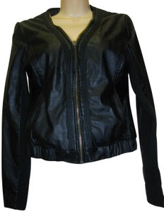 Foreign Exchange Pintucks Zipper Faux Leather Jacket
