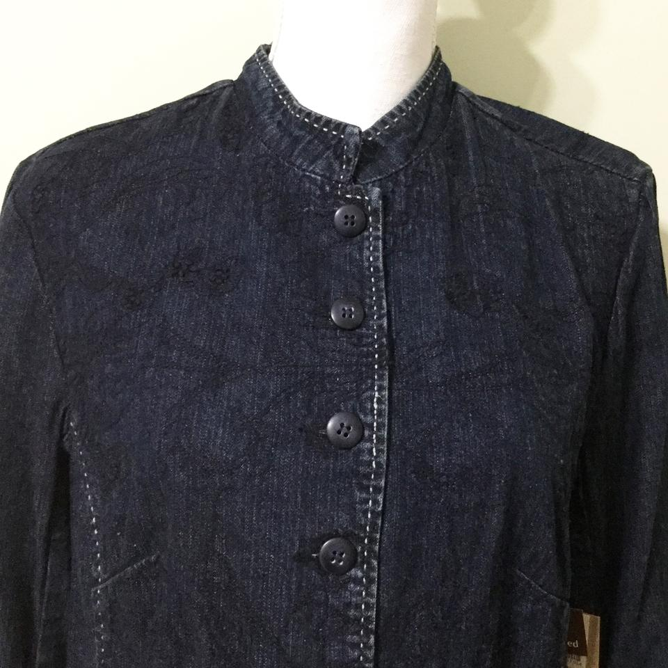 10d8a93c1f72 Coldwater Creek Dark Blue Floral Embroidered Jacket Size 14 (L ...