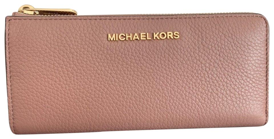 2effba34b11f Michael Kors Dusty Rose Beige Jet Set Travel Large Three Quarter Zip  Leather Wallet