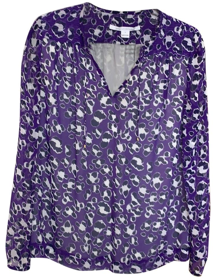 8f6405451f697 Diane von Furstenberg Purple  Black  White Silk Blouse Size 6 (S ...