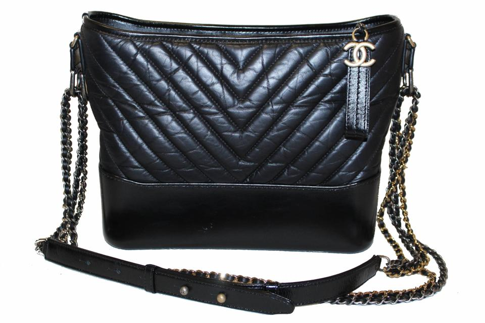 44a7889a77041c Chanel Gabrielle Hobo Medium Chevron Aged Calfskin Black Leather ...