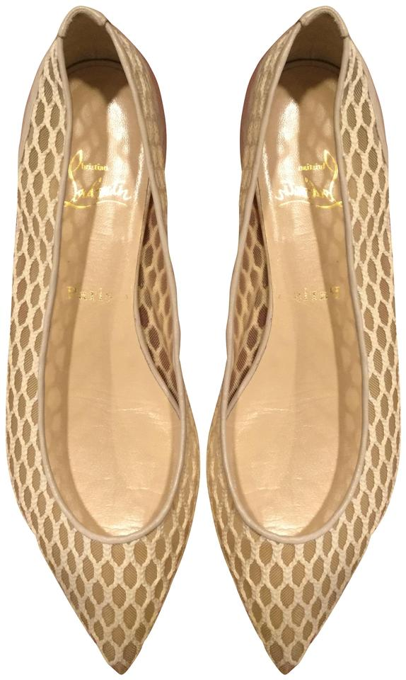 buy popular 2ef5a 17b0a Christian Louboutin Nude Beige Pigaresille Point Ballet Flats Size US 8  Regular (M, B)