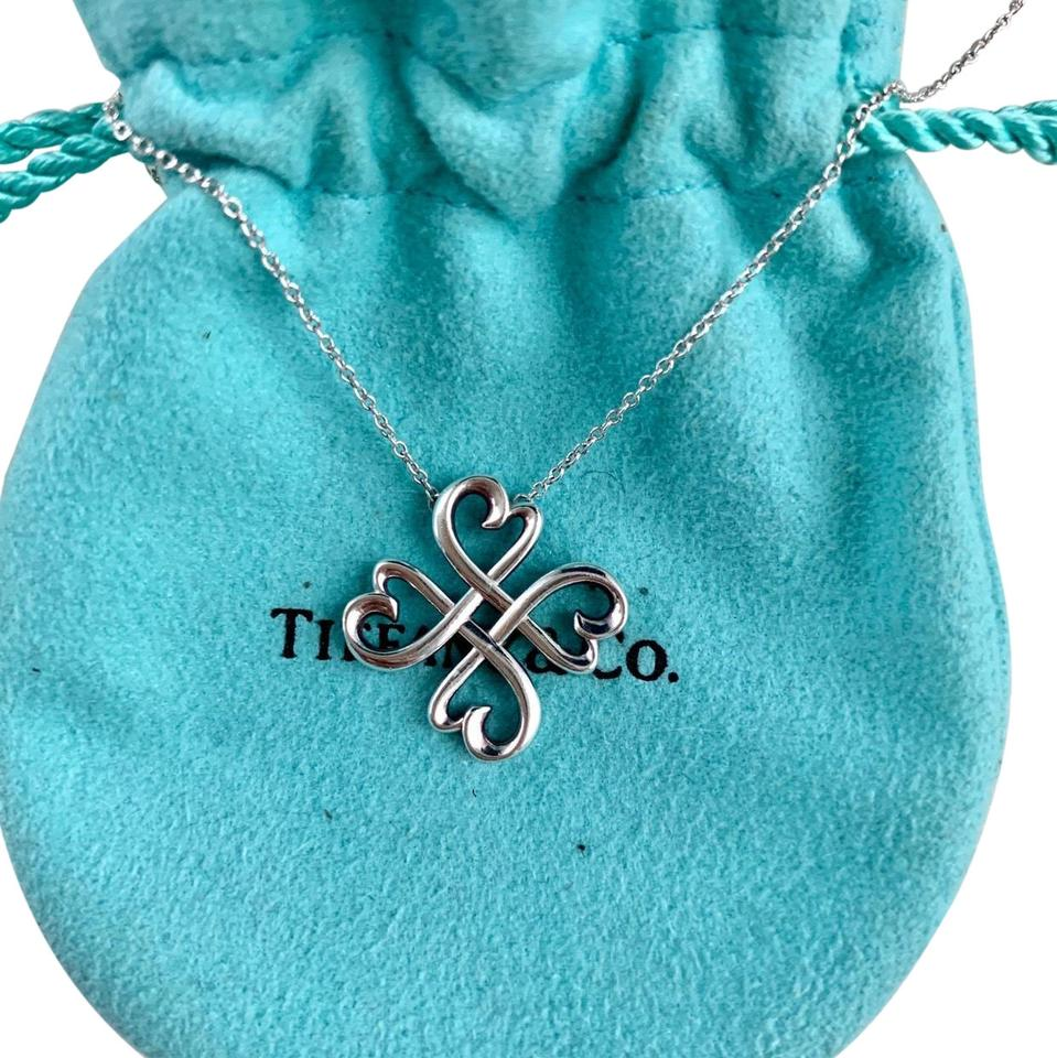 586030482 Tiffany & Co. Silver Paloma Picasso Loving Heart Clover Necklace ...