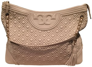 Tory Burch Quilted Leather Tote in Nude