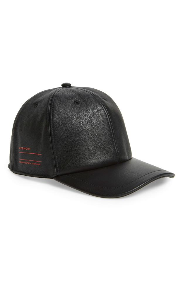 Givenchy Givenchy Stamped Logo Black Leather Adjustable Ball Cap Baseball  Hat ... acc051a1975