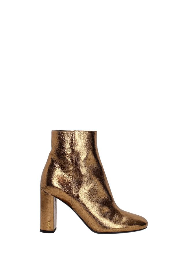 Saint Laurent Gold Ankle Women Boots Booties Size EU 39 (Approx. US ... 0868f1340c3f