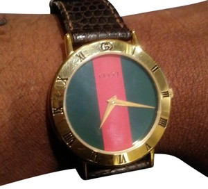 04eaaf066a7 Gucci Green Red Face Brown Strap 3000.2m Watch - Tradesy