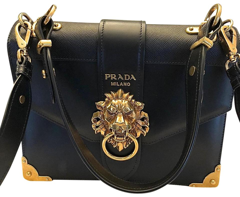 64afa0ab3418 Prada Cahier Lion Plaque Black Saffiano Leather & Buffed Leather Shoulder  Bag