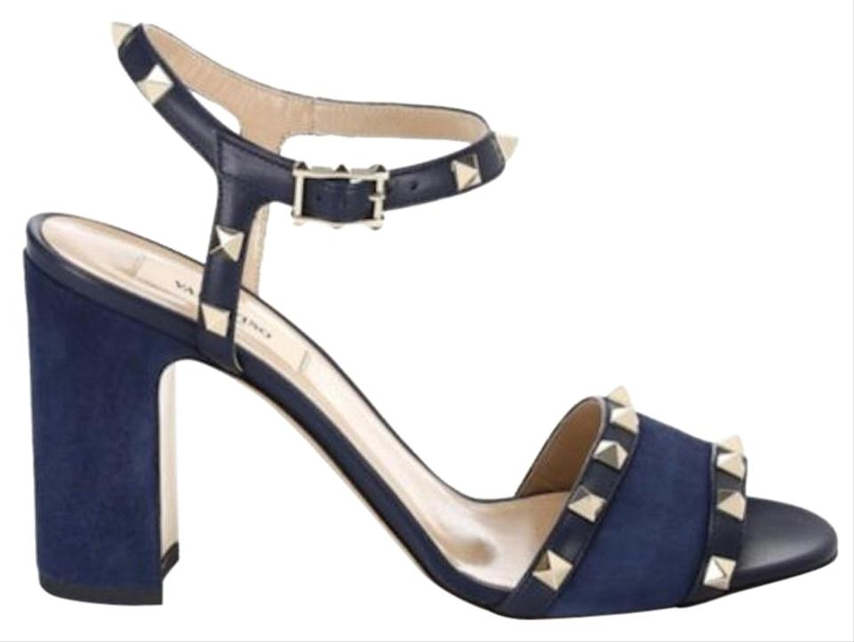 0fc7896f6282 Valentino Studded Ankle Strap Open Toe Block Heel Made In Italy marine  Sandals Image 0 ...