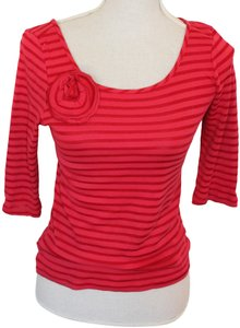 Odille T Shirt Red Shadow Stripe