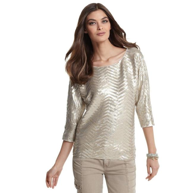 Item - Sequin Dolman Sleeve Gold Silver Top