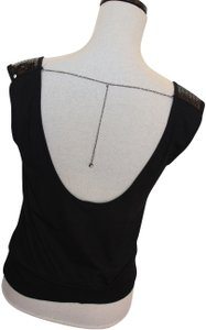 United Colors of Benetton Top Black with Silver Chain and Rhinestone