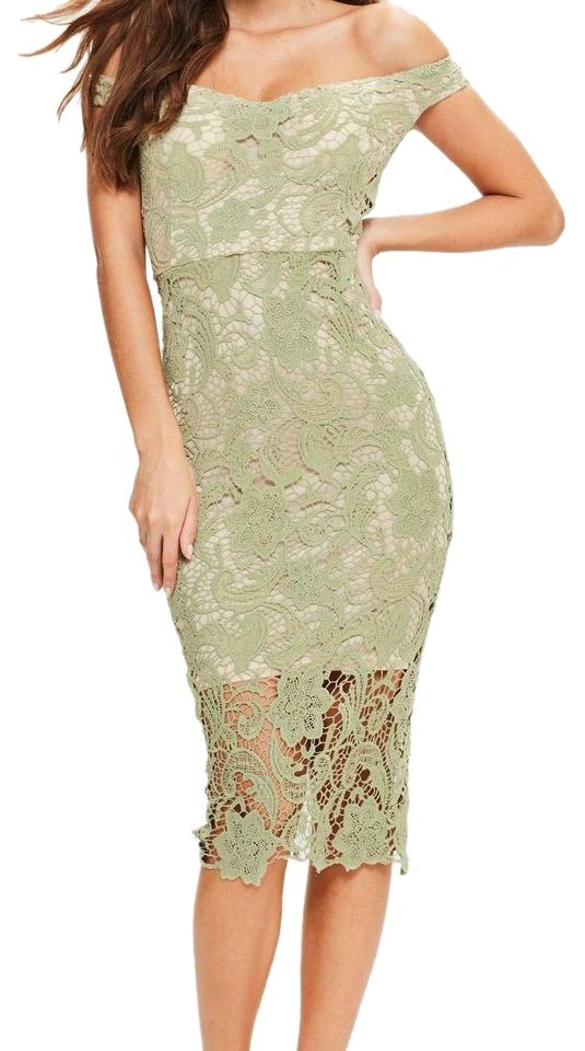 5255ad0c17ec Missguided Green Off The Shoulder Lace Mid-length Night Out Dress ...