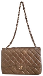 Chanel Lambskin Jumbo Double Flap Cross Body Bag