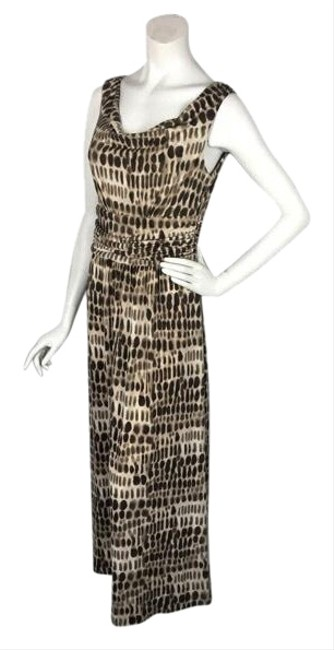 Item - Brown Tan Ruched/Gathered Waist Print Long Casual Maxi Dress Size 8 (M)