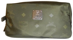 MCM Green Signature Monogram Canvas Pouch Travel or Cosmetic Bag