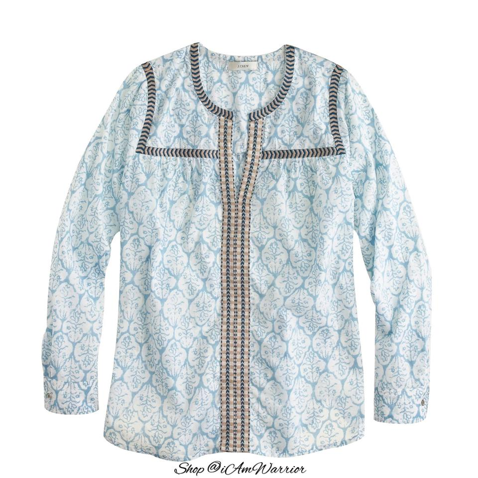 5c09bb20fc6b5a J.Crew Blue Multi Embroidered Peasant Button-down Top Size 8 (M ...