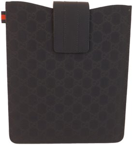 Gucci GG GUCCISSIMA NAVY RUBBERIZED LEATHER WEB IPAD TABLET CASE #256575