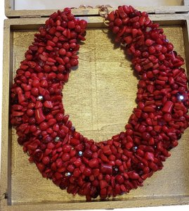 Natural Red Coral Statement Collar Necklace Natural Red Coral Statement Collar Necklace