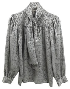 Saint Laurent Silk Fall Winter Luxury Print Top Grey/Silver