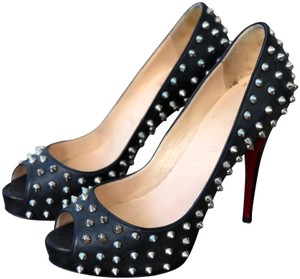Christian Louboutin Red Sole Cl Spikes Peep Toe Black Platforms