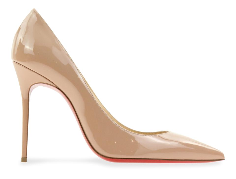 b35ebfbeff79 Christian Louboutin Beige Nude Decollete 554 100mm Patent Pumps Size ...
