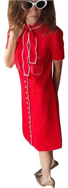 Item - Red with White Trim Mid-length Work/Office Dress Size 2 (XS)