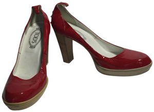 Tod's Patent Leather Red Pumps