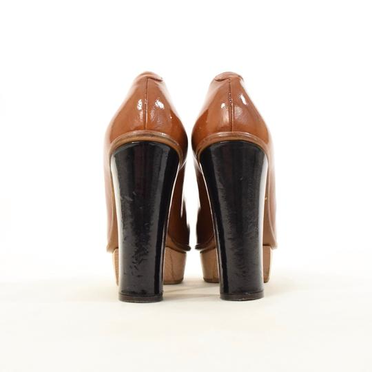 Marni Patent Leather Round Toe Wooden Brown Platforms