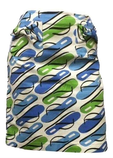 Item - Blue Green Stretch Flip Flop (Sku 000054) Skirt Size Petite 6 (S)