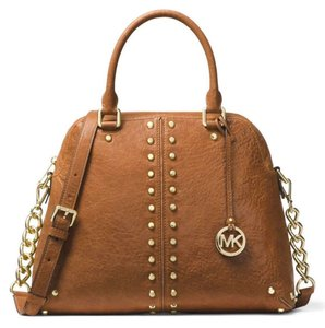 1b47f31ebd99 Michael Kors Uptown Astor Studded (New with Tags) Walnut Brown/Gold  Hardware Leather Satchel