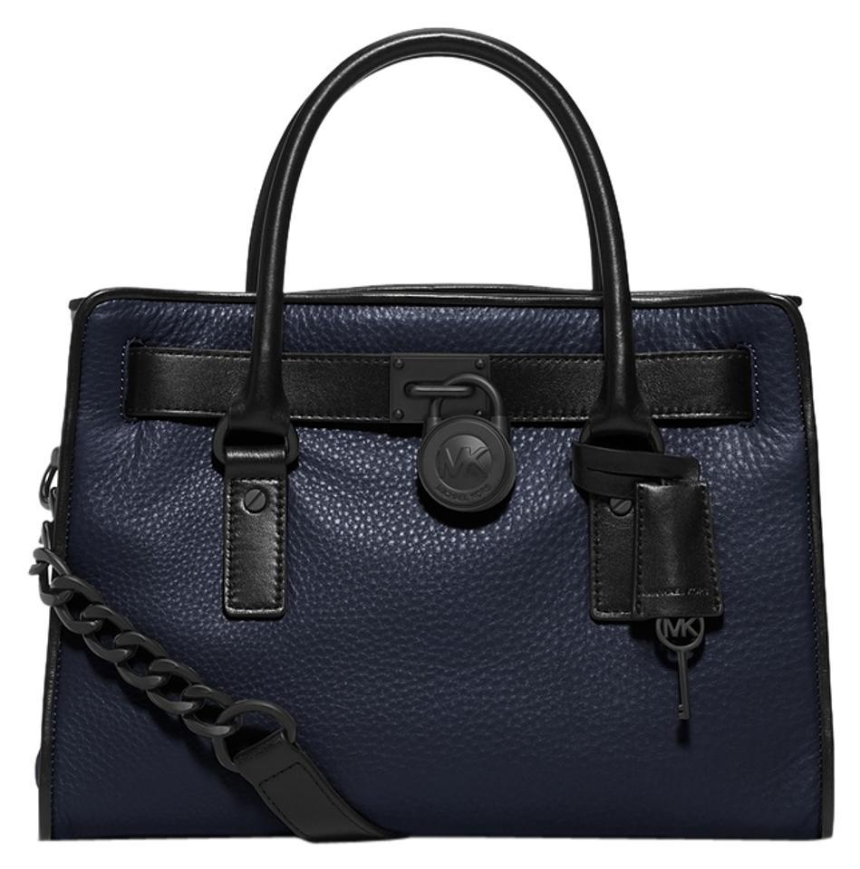 808bb30b9349 Michael Kors East West Hamilton French Binding Satchel (New with Tags) Navy  Blue / Black Leather Shoulder Bag