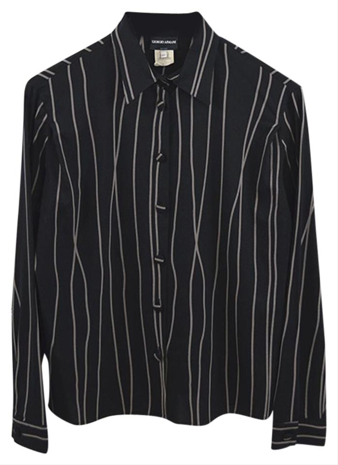 5e9f74389187bb Giorgio Armani Striped Fall Winter Silk Luxury Button Down Shirt Black Grey  Image 0 ...