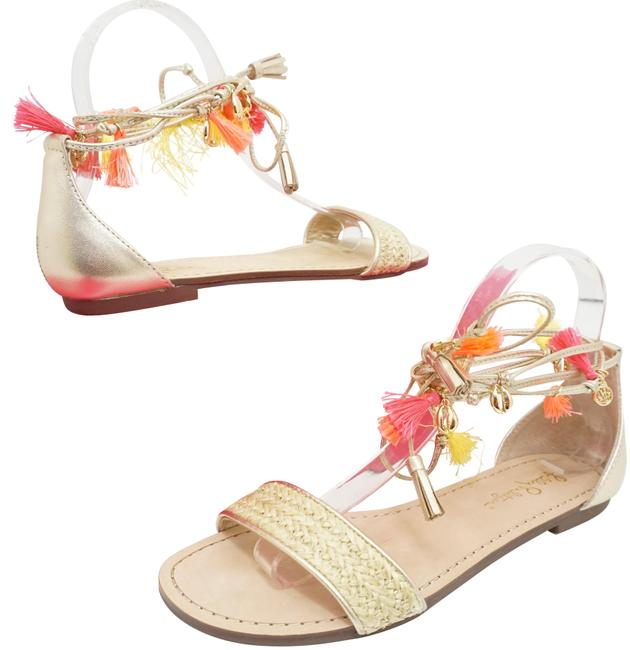 Lilly Pulitzer Gold Willa Women's Flats Metallic Sandals Size US 7 Regular (M, B) Lilly Pulitzer Gold Willa Women's Flats Metallic Sandals Size US 7 Regular (M, B) Image 1