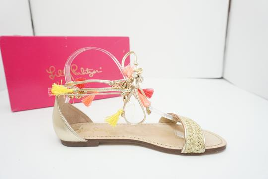 Lilly Pulitzer Flats Ankle Strap Gold Sandals