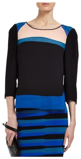 Preload https://img-static.tradesy.com/item/24670775/bcbgmaxazria-black-blue-beige-peach-arden-colorblock-34-sleeve-blouse-size-2-xs-0-1-650-650.jpg
