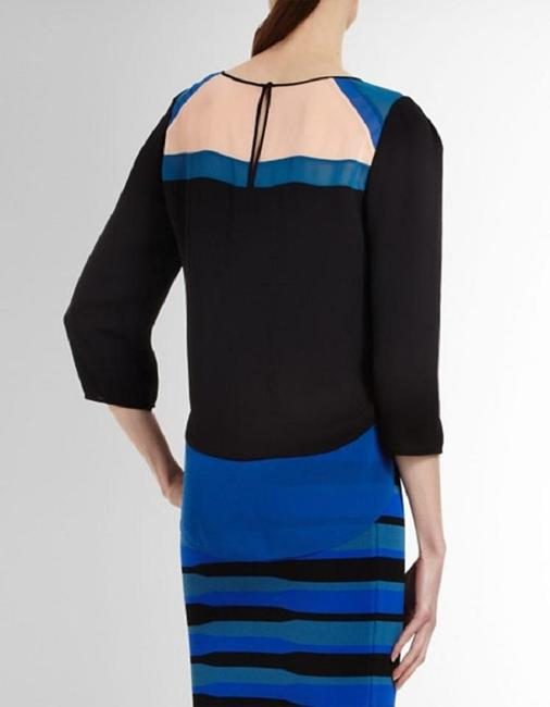 BCBGMAXAZRIA Top Black / Blue / Beige Peach